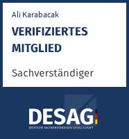 DESAG Sachverständigen-Zertifikat: alikarabacak