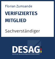 DESAG Sachverständigen-Zertifikat: Florian Zumsande