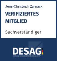 DESAG Sachverständigen-Zertifikat: jenschristophzarnack
