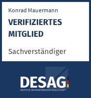 DESAG Sachverständigen-Zertifikat: Konrad Mauermann