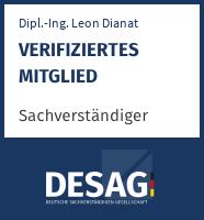 DESAG Sachverständigen-Zertifikat: Dipl.-Ing. Leon Dianat