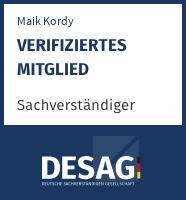 DESAG Sachverständigen-Zertifikat: Maik Kordy
