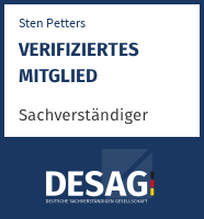 DESAG Sachverständigen-Zertifikat: Sten Petters